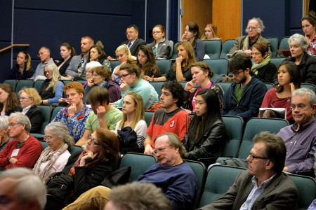 Students, sustainability leaders, and community members contributed to a lively discussion after watching Last Call.