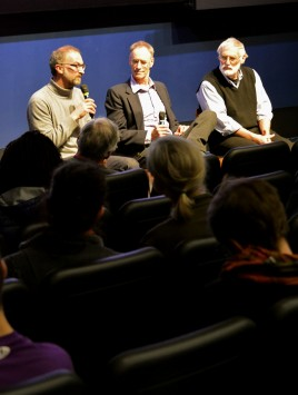 Enrico Cerasuolo, Professor David Peart, and Dr. Dennis Meadows sit on the Last Call panel