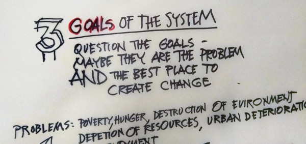 3. Goals of the system: question the goals - maybe they are the problem AND the best place to create change