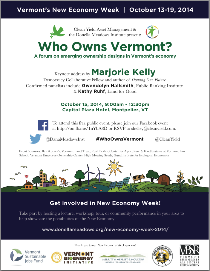 Poster advertising New Economy Week and the Oct 15 ownership forum
