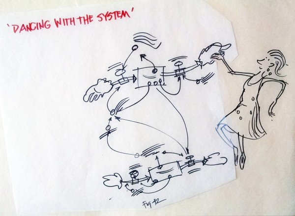 pen illustration of a woman dancing with a stock & flow model