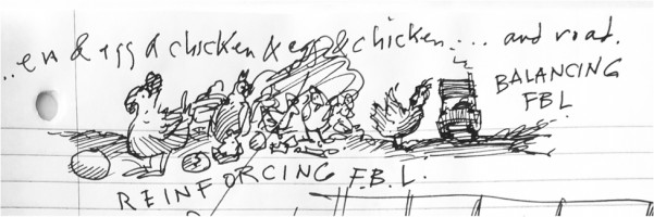 pen illustration of chickens and eggs and a chicken crossing the road