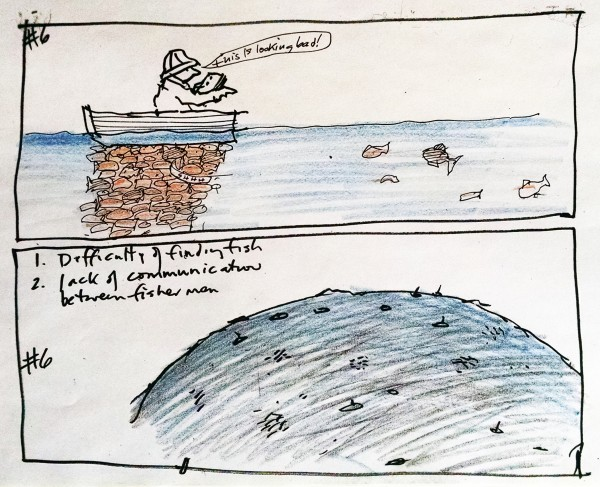 pen and color sketch of fishermen and fish