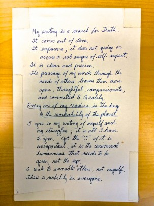 A handwritten note about why Dana writes