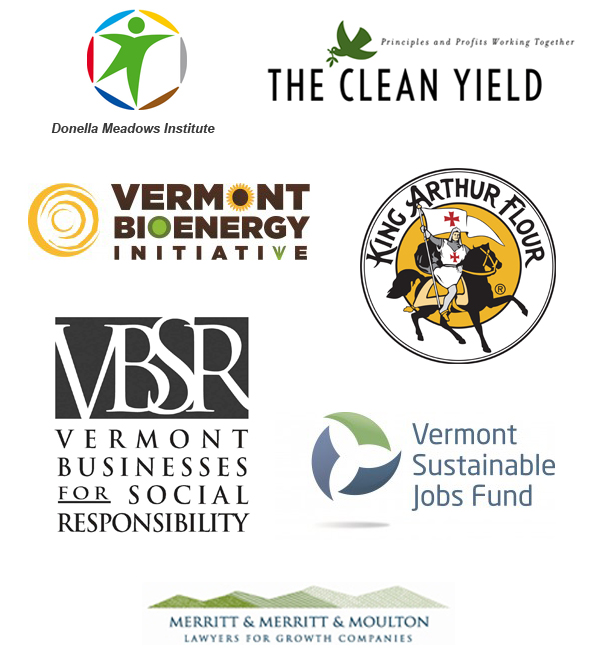 logos from event sponsors: Donella Meadows Institute: Clean Yield Asset Management, Vermont Bioenergy Initiative, King Arthur Flour, Vermont Businesses for Social Responsibility, Vermont Sustainable Jobs Fund, and Merritt & Merritt & Moulton